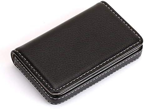camellia® Tragbare NI Magnetic Design Kartenhalter Tasche Visitenkarte Paket PU-Karte Fall für ID-Karten Kreditkarten (schwarz)