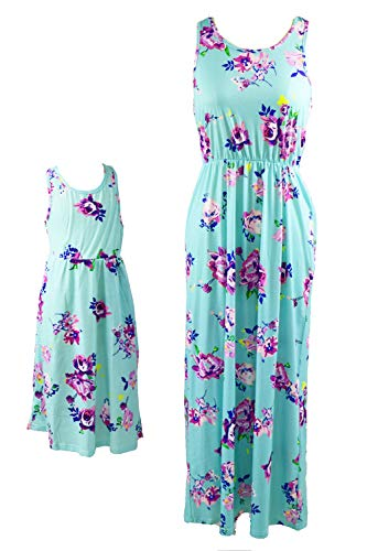 WIWIQS Mommy and Me Dresses Floral Tank Maxi Dress Sleeveless Pocket Matching Outfits Green XL]()