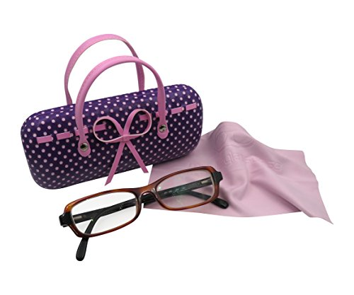 Purple Hard Protective Eyeglass Case with handles Mini handbag Eyeglass Case with cleaning cloth for Medium frames Women & Girls Small accessories| AS12TG Polka Dots Purple by MyEyeglassCase (Image #3)