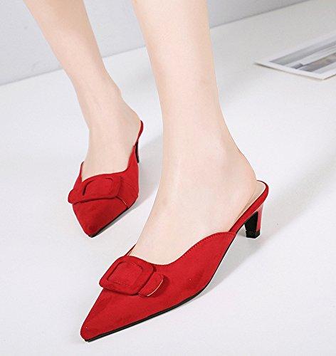 Sexy Rouge Enfiler Fermeture Pointue Soirée à Coupe Aisun Femme Mules 5xzqwY754p