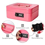 "Decaller Cash Box with Combination Lock, Safe Metal Small Locking Box with Money Tray, 7 4/5"" x 6 4/5"" x 3"
