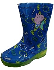George Pig Dino GO Blauw Knipperende Zool Jongens Wellies Wellington Laarzen