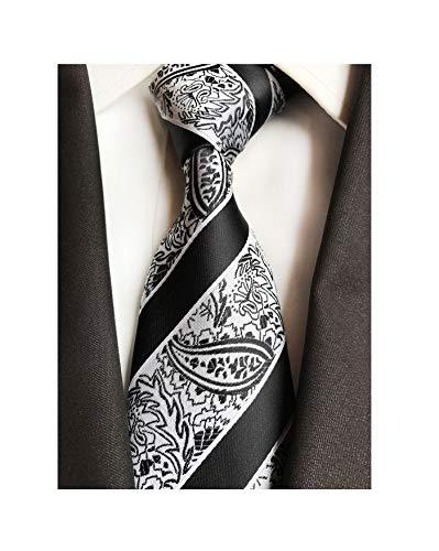 Men Teen Black and White Silk Cravat Tie Jacquard Woven Wedding Holiday Prom Neckwear