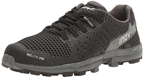 Inov-8 Women's Roclite 290 Trail Running Shoe, Black/Grey, 8 B US