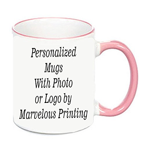 Personalized Mug in Pink and White Pink Coffee Photo