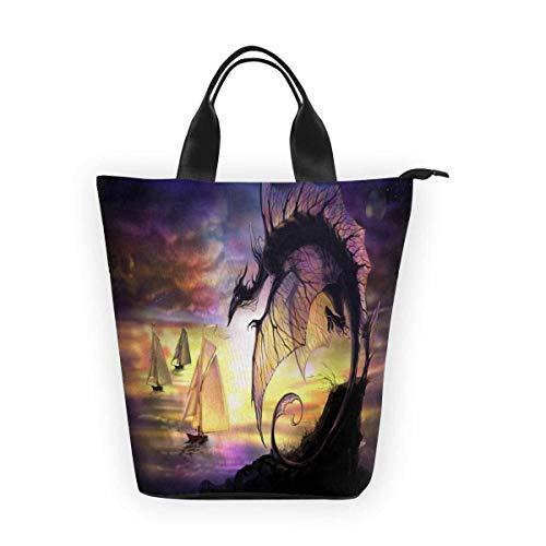 InterestPrint Nylon Cylinder Lunch Bag Cartoon Dragon Sailing Vessel Tote Shopping Handbag