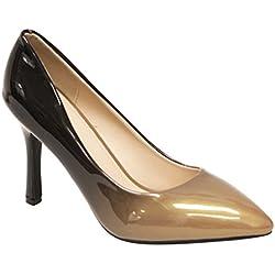 Heart's Zara-02 Women's point toe patent gradient color high heel stiletto pumps Brown 8.5