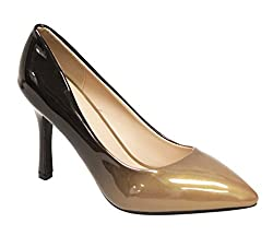 Heart's Zara-02 Women's point toe patent gradient color high heel stiletto pumps Brown 5.5