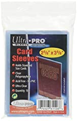 "Ultra Pro brings your these archival-grade, acid-free, and non-PVC soft card sleeves designed to hold standard 2-1/2"" X 3-1/2"" cards. Made from ultra clear polypropylene to protect your collectibles from scratches. 100-Count per pack. Ultra P..."