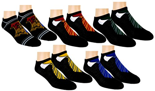 Harry Potter Womens Ankle-No Show Socks 5 Pair Pack (Black) Shoe Size 4-10/Sock Size 9-11