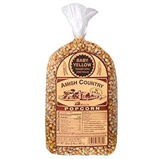 Amish Country Popcorn | 2 lb Bag | Baby Yellow Popcorn Kernels | Old Fashioned with Recipe Guide (Baby Yellow - 2 lb Bag)