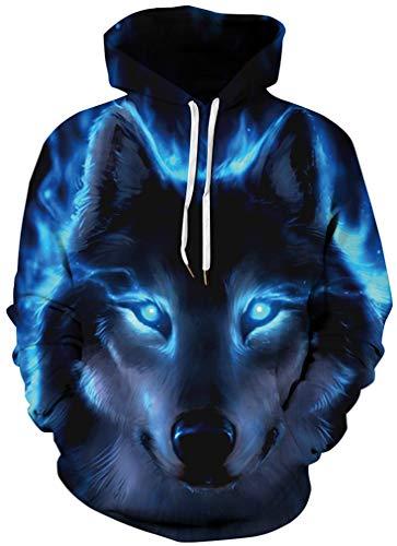 À shirt Drôle Ocean Sweats Streetwear Sportif Bleus Aux Longues Sweat Unisexe 3d Yeux Cordon Manches Homme Multicolore Avec Plus Loup Capuche Noir XtwCqwO