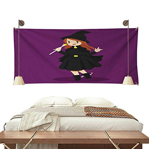 BlountDecor Colorful Tapestry Halloween Witch Costume 84W x 70L Inch -