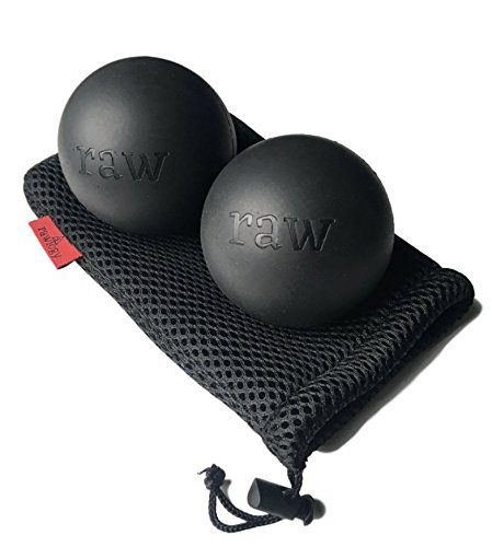 rawlogy BPA-Free, Natural Rubber Massage Ball Set for Reflexology and Myofascial Release. Includes 2 Balls with Bonus Case
