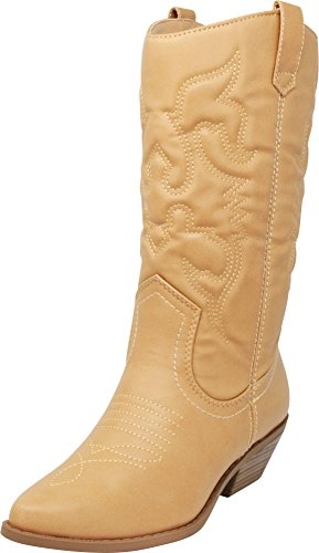 Cambridge Select Women's Western Pointed Toe Mid-Calf Cowboy Boot,7.5,Blonde Pu
