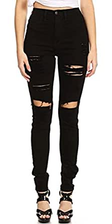 Monotiques Women's High Waist Ripped Jeans