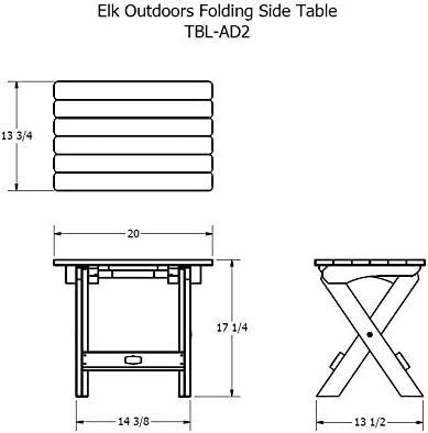 Elk Outdoors EO-TBS1-CAR The Essential Folding Side Table, Caribou
