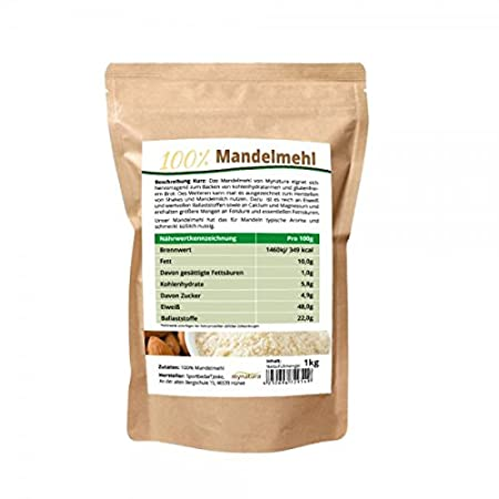 Mynatura - harina molida de almendras blancas 100 % (bajo contenido en carbohidratos, sin gluten, fino, con fibra, vegano, para batidos): Amazon.es: ...