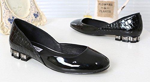 Femme Rond Noir Mode Aisun Ballerines Vernis Bout 7Fp8nqHx