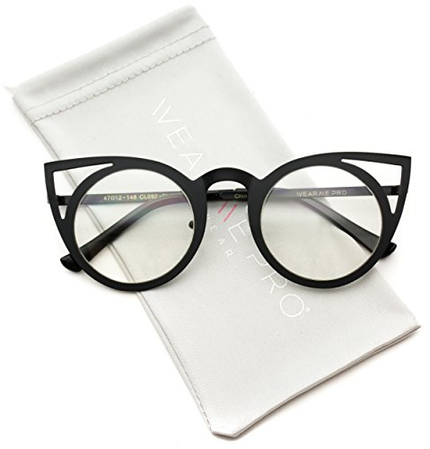 WearMe Pro - Cut Out Cat Eye Metal Frame Clear Lens - Cat With Cute Glasses