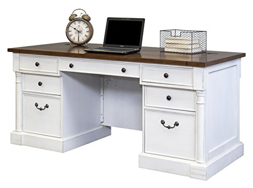 Martin Furniture IMDU680 Durham Double Pedestal Executive Desk, White