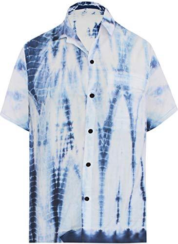 (LA LEELA Cotton Batik Button Up Shirt Navy Blue 582 Large | Chest 44