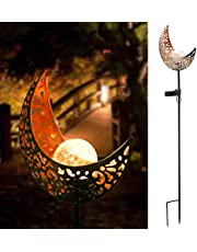 Solar Garden Stake Light Outdoor Decorative, Solar Powered Pathway Moon Crackle Glass Globe Stake Metal Lights, Led Solar Landscape Lights Waterproof Warm White Led for Lawn,Patio, Courtyard Christmas Decoration