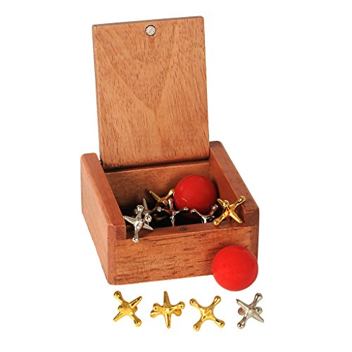 WE Games Metal Jacks in a Wooden Box (Metal Set Jacks)