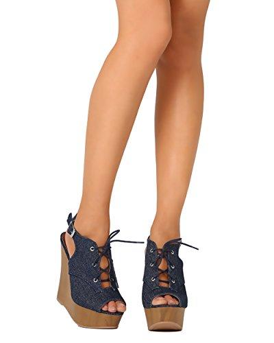 Qupid FD71 Women Denim Peep Toe Lace Up Slingback Wooden Platform Wedge Sandal - Blue Denim