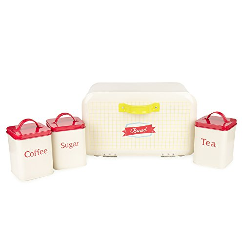 Hot Sales X458(742L) Set of 4 Square Metal Vintage Home Kitchen Gifts Tea Coffee Sugar Tin Canister/Bread Box/Bin/Container/Holder 14 Inch Bread Box