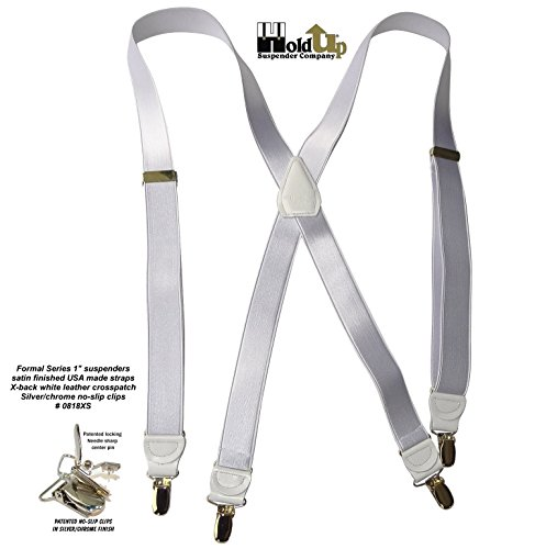 Hold-Ups X-back 1'' W. Suspenders Satin Finish White, Pat. No-slip Silver Clips by Hold-Up Suspender Co. (Image #3)