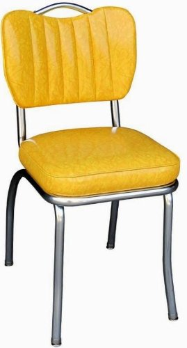 Richardson Seating 4260CIY Handle Back Retro Kitchen Chair in Single Tone Channel Back with 2