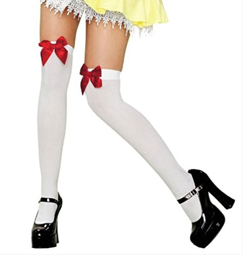 Queen Bow (Thigh Highs with Satin Bows Adult Hosiery White with Red Bows - One Size)