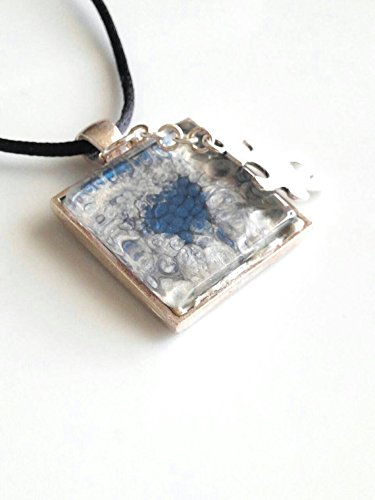 Autism Blue Abstract Art Necklace 1 Inch Square Glass Jewelry 18=20 - Pandora Cp