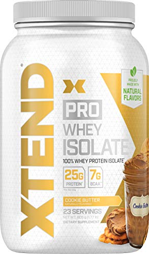 Scivation Xtend Pro 100% Whey Protein Isolate Powder with 7g BCAA & Natural Flavors, Keto Friendly, Gluten Free Low Carb Low Fat Protein Powder, Cookie Butter, 1.8 lbs (Cookies Isolate Whey Protein)