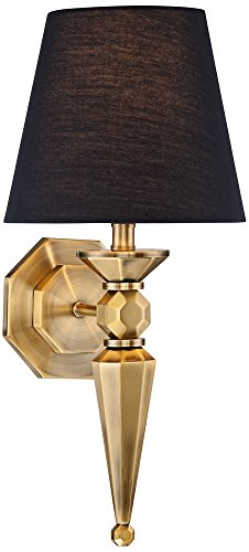Clarice Black Shade 17 1/4 High Antique Brass Wall Sconce (A19 Brass Sconce)