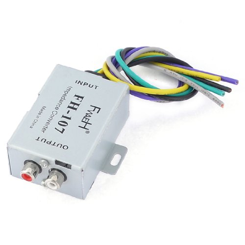 Auto Car Speaker to 2 RCA Line High Low Level Amplifier Converter by uxcell
