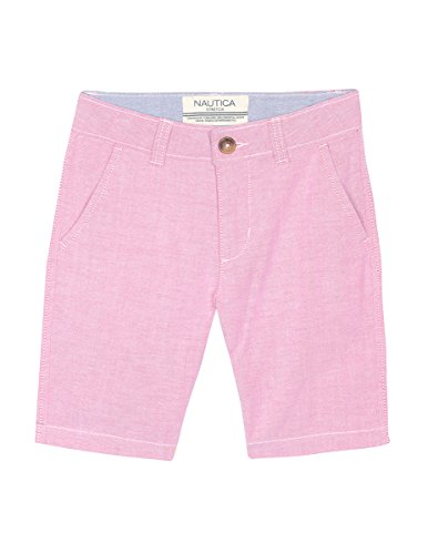 (Nautica Boys' Big' Solid Flat Front Short, Wilkes Ruby, 8)