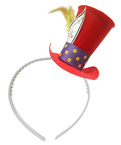 [Red Mad Hatter Mini Top Hat Headband Alice in Wonderland Birthday Tea Party Steampunk] (Kids Mad Hatters Tea Party Costumes)