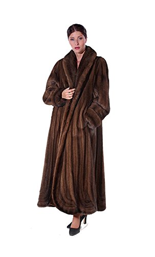Madison Avenue Mall Mink Fur Coat - Mahogany Mink Swirl Panel Design -Size 8