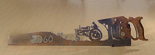 Metal Art John Deere # 60 Tractor Farming - Hand (plasma) cut handsaw | Wall Decor | Garden Art | Recycled Art | Re-purposed - Made to Order | Plasma Cut Metal Art