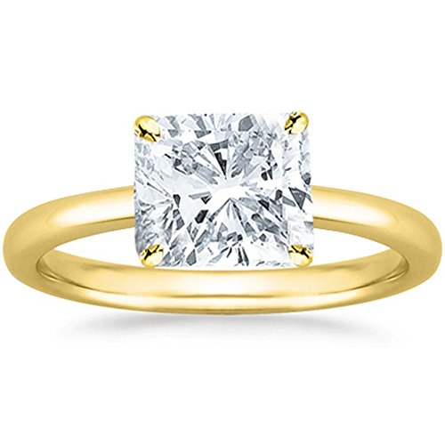 Cushion Cut Solitaire Diamond (14K Yellow Gold Cushion Cut Solitaire Diamond Engagement Ring (1 Carat I-J Color SI2-I1 Clarity))
