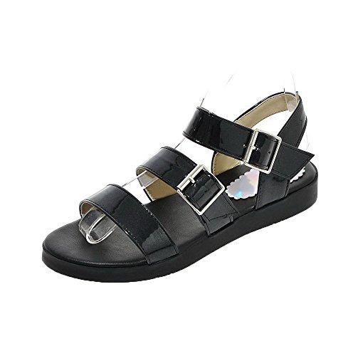 AalarDom Mujer Puntera Abierta Mini Tacón Sólido Hebilla Sandalias de vestir Negro