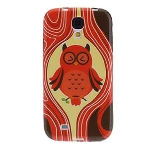 HOR Rojo del caso del patrón TPU suave Owl para Samsung i9500 Galaxy S4