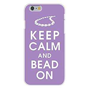 Apple iphone 6 plusd 5.5 Custom Case White Plastic Snap On - Keep Calm and Bead On w/ Necklace