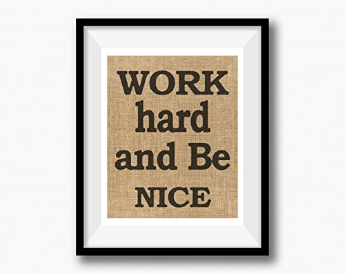 ♥ 'Work Hard and Be Nice' Wall Decor Housewarming Gift | Personalized Burlap Print | Housewarming Gift | New Home Closing Gift Burlap Gift ♥ (Team Colors Personalized Invitations)