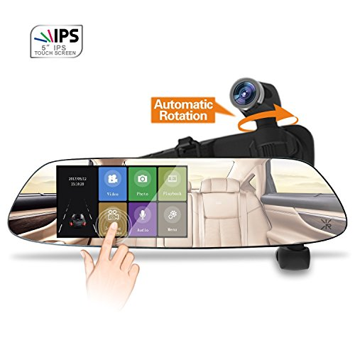 Mirror Dash Cam HD 1080P Panoramic Front Car Mirror Camera with 360°Automatic Rotatable and Exclusive Dual Ultrasonic Object Sensor Hardwire Kit, Night Vision and Loop Recording