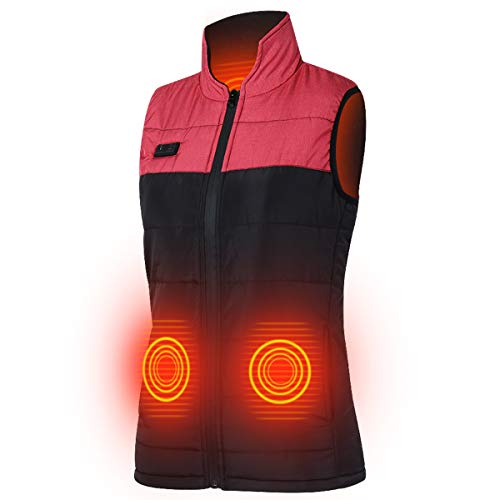 Slimerence USB Heated Vest Rechargeable Washable for Women Outdoors Two Buttons Black