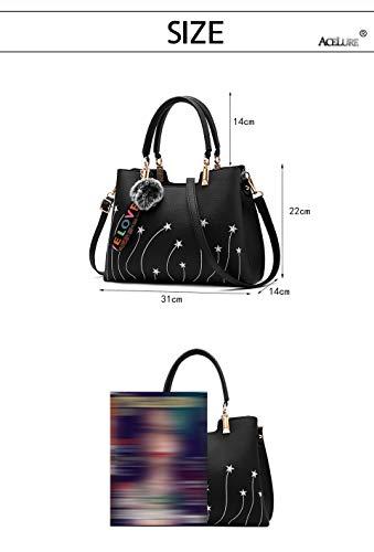 Bolso Piel Bolsos Las Lujo Gran Hombro Diseño De Black Tote Burgundy Capacidad Mujeres Bordado Bolsa q4x701fw