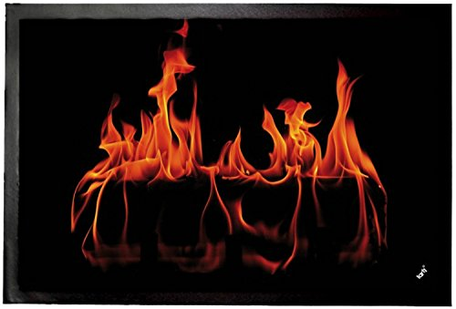 1art1® Fires Door Mat Floor Mat - Warm Fireplace (24 x 16 inches) by 1art1